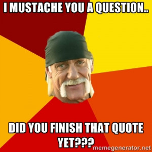 Hulk Hogan - I mustache you a question.. Did you finish that quote yet ...
