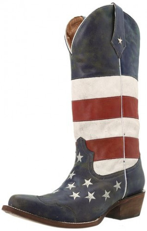 American Flag Roper Boots Womens