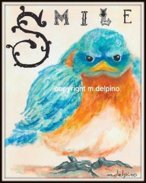 Baby Bluebird nursery kid child quote text SMILE bird by AdoraArt, $10 ...