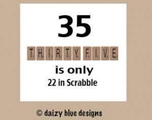 Birthday Card, 35th Birthday, Funny Birthday Cards, Scrabble Birthday ...