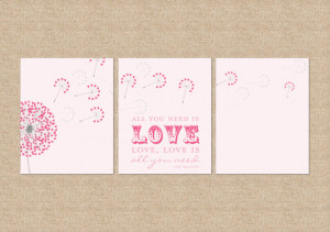 All you need is love... Beatles Quote Nursery / Kids Room Giclée Art ...