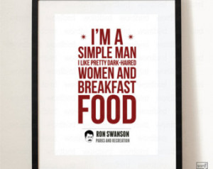Funny Quote Poster, Parks and Rec Quote, Ron Swanson Breakfast foods ...