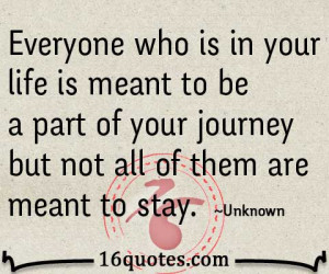 ... meant to be a part of your journey but not all of them are meant to