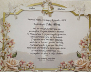 Christian Marriage Poems Wedding gift personalized poem