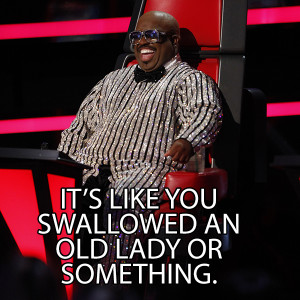 """... one to heart, naming her voice """"Bertha Cee Lo Green,"""" as a result"""