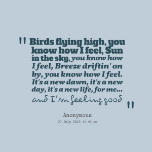 Quotes Picture: birds flying high, you know how i feel, sun in the sky ...