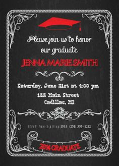 Chalkboard Graduation Invitation - High School or College Graduation ...