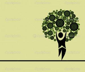 Human Nature Symbol Abstract Human Tree Symbol of