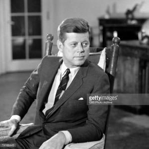News Photo: Portrait of American President John F Kennedy in…