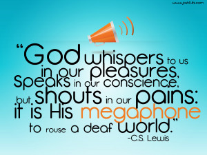 ... Quotes archive. Lewis Christianity God God speaks Pain Quote picture