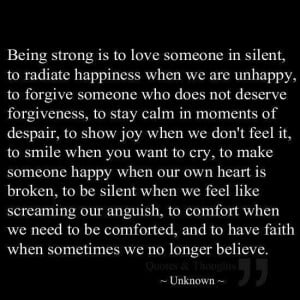 Being strong. ...