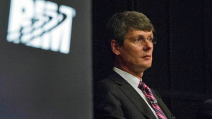 Research In Motion Limited President and CEO Thorsten Heins listens ...