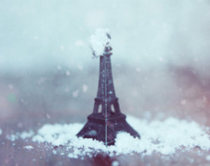 Voyage Voyage in December, snow abo ve Eiffel Tower, Still Life ...