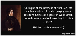 One night, at the latter end of April 1665, the family of a citizen of ...