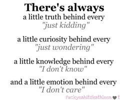 """... Just Kidding"""" A Little Curiosity Behind Every """"Just Wondering"""