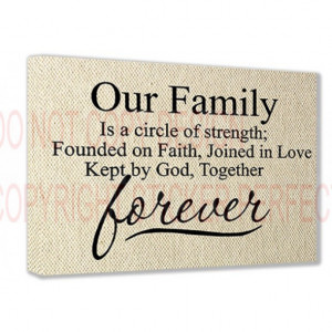 (Textured Look) Our Family is a circle of strength; founded on faith ...