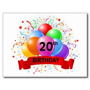 20th Birthday Banner Balloons Postcard