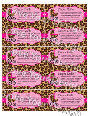 Sweet Leopard Diaper Raffle Ticket for Baby Shower- YOU PRINT instant ...