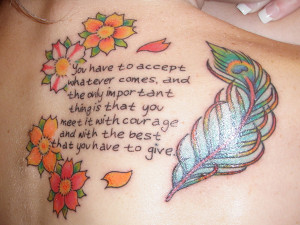feather frame a quote tattoo on living life with 100 % courage at all ...