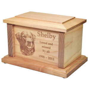 Photo Engravable Maple Dog Urn
