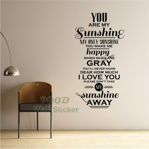 You-Are-My-Sunshine-Quote-Wall-Stickers-DIY-Home-Decoration-Wall-Art ...