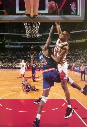 Scottie Pippen Chicago Bulls Dunk over Patrick Ewing New York Knicks