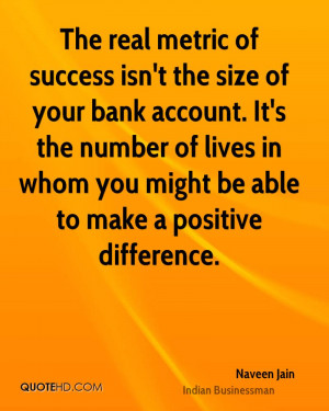 The real metric of success isn't the size of your bank account. It's ...