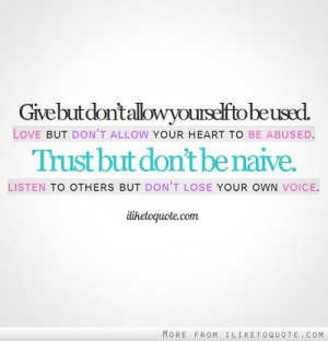 trust but don't be naive....