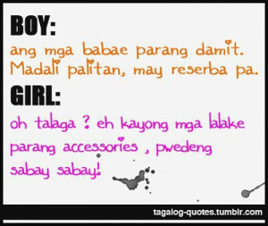 Boy vs Girl Quotes : Babae vs Lalaki