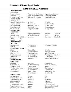 Transition words are used in persuasive essays to
