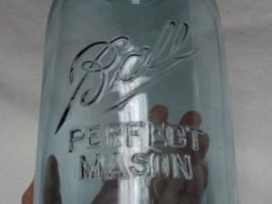 Antique Vintage Ball Mason Canning Jar, Aqua Blue Glass Half Gallon