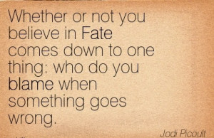 ... One Thing Who Do You Blame When Something Goes Wrong. - Jodi Picoult