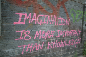 Imagination is more important than knowledge graffiti quotes spray ...