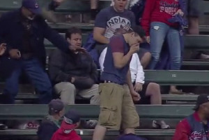 Cleveland Indians Fan Tries to Catch Baseball, Almost Eats it Instead