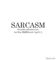 """Sarcasm The Witty Will Have Fun, But The Stupid Won't Get It """""""