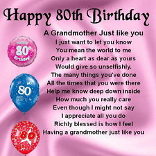 Personalised Coaster Grandmother Poem - 80th Birthday Design + FREE ...