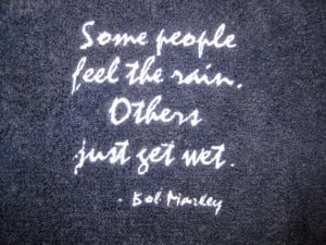 ... THE RAIN - Hand Towel in Navy Blue - Embroidered - Bob Marley quote