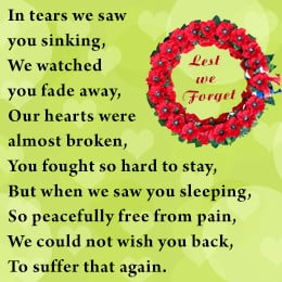 Verse in memory of loved one