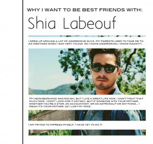 Why I want to be BFF with Shia Labeouf