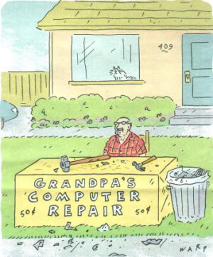 Grandpa Computer Repair copyright by Kim Warp from AARP Bulletin, Jan ...