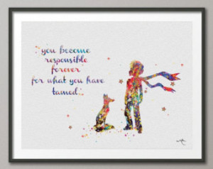 The Little Prince Le Petit Prince with Fox Quote Watercolor ...