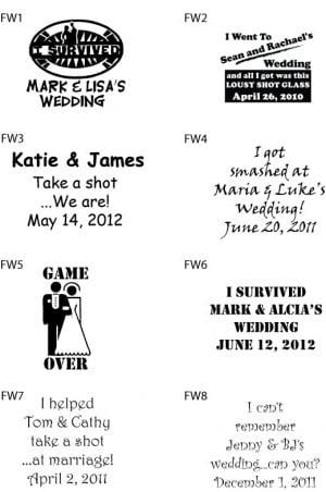Details about 240 Custom Funny Wedding Sayings Favor Shot Glasses