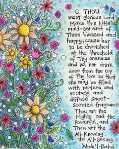 Bahai Prayer for girls Fine Art Print by atinyseed on Etsy, $19.00