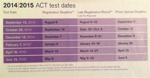 Act Test Dates 2014 2015