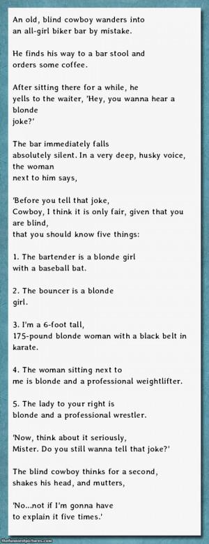 Wanna hear a blonde joke?