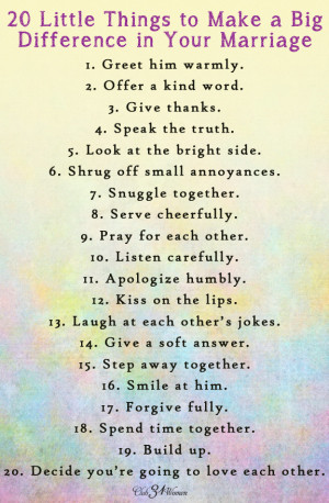 ... Printable: 20 Little Things to Make a Big Difference in Your Marriage