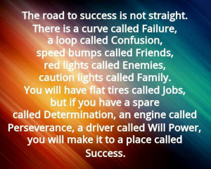 Inspirational Quotes - The road to success is not straight.