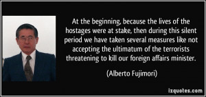 ... ultimatum of the terrorists threatening to kill our foreign affairs