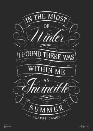 Inspirational quotes: Albert Camus Invincible Summer poster 4