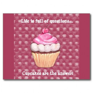 Cute Pink Cupcake Quote Postcard. $1.08